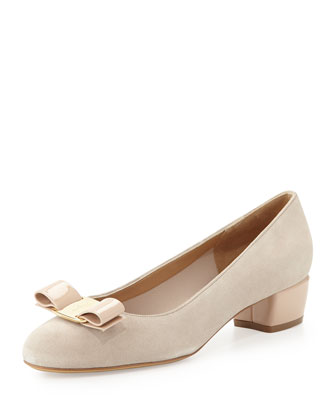Vara Suede Cube-Heel Bow Pump, New Bisque