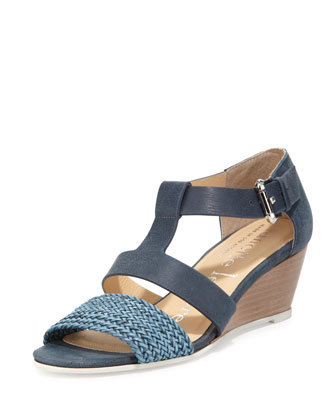 Absolute Wonder Leather Wedge, Denim