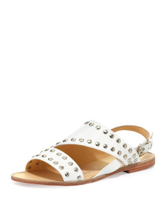 Double Time Studded Flat Leather Sandal, White