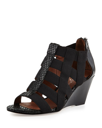 Pira Stretch Snakeskin Wedge Sandal, Black