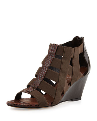 Pira Stretch Snakeskin Wedge Sandal, Expresso
