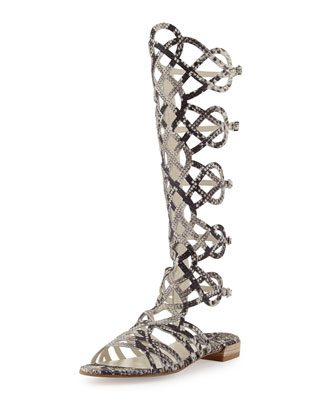 Aphrodite Snake-Print Leather Gladiator Sandal