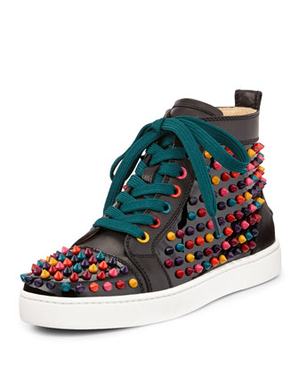 Louis Spikes Calfskin High-Top Sneaker, Black Multi