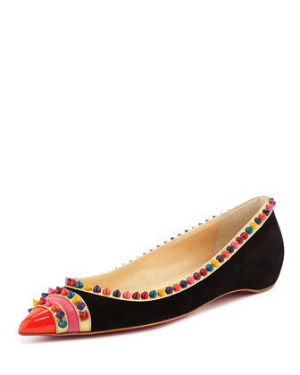 Malabar Spiked Red Sole Ballerina Flat, Black