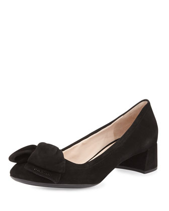 Suede Bow Low-Heel Pump, Navy