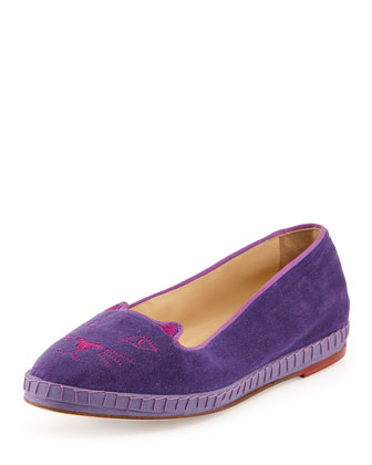 Capri Cats Velvet Slipper, Purple