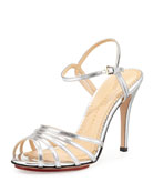 Gilda Metallic Double-Buckle Strappy Sandal