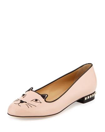 Kitty Cat-Embroidered Stud-Heel Flat, Nude