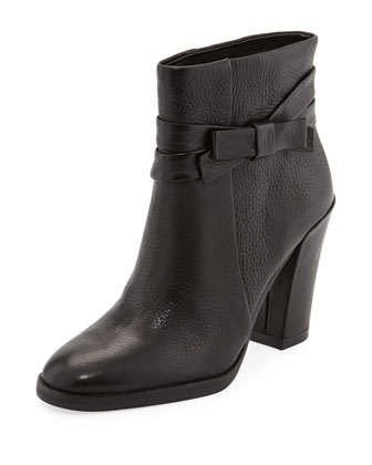mannie bow ankle boot, black