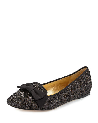 audrina sequined bow-top flat, black/antique