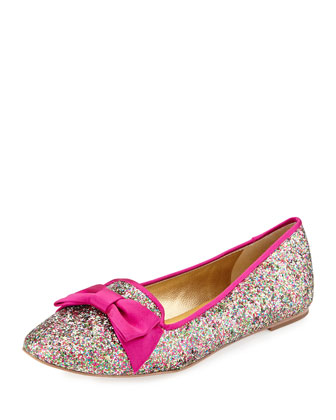 audrina glittered bow-top flat, multi glitter