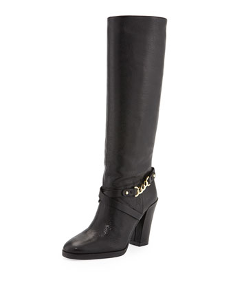 montreal chain-link leather boot, black