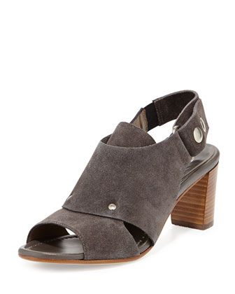 Athena Suede Slingback Sandal, Stone