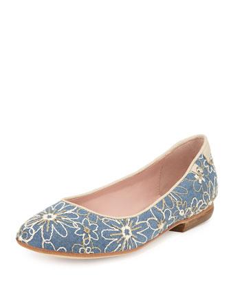 Bud Floral-Embellished Ballerina Flat, Jeans/Bone