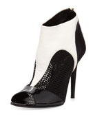 Peep-Toe Combo Ankle Boot, Black/White
