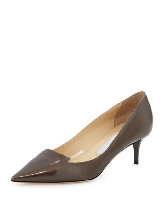 Allure Patent Pointed-Toe Loafer Pump, Gray