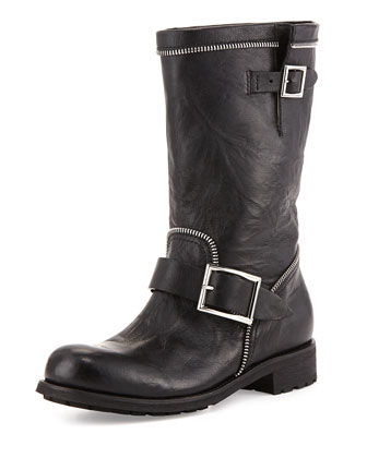 Dakar Double-Buckle Zip Boot, Black