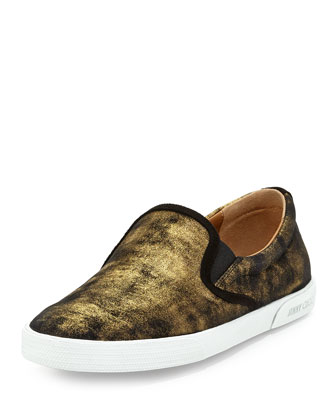 Demi Shimmer Suede Slip-On, Gold