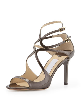 Ivette Crisscross Patent Leather Sandal, Gray
