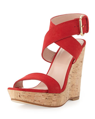 Xray Suede Cork Wedge, Red (Made to Order)