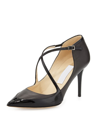 Madera Crisscross Point-Toe Pump, Black