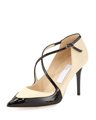 Madera Crisscross Point-Toe Pump, Nude/Black