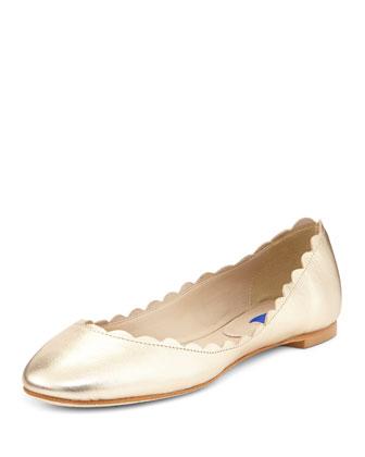 Selma Metallic Ballerina Flat, Platinum