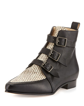 Marlin Snake-Print Ankle Boot, Black/Natural