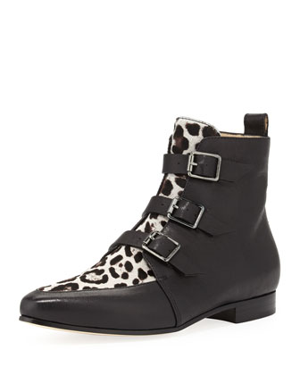 Marlin Buckled Leopard-Print Ankle Boot, Black/Quartz