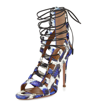 Amazon Lace-Up Snakeskin Sandal, Blue/White