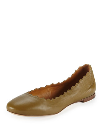 Scalloped Leather Ballerina Flat, Military Gray