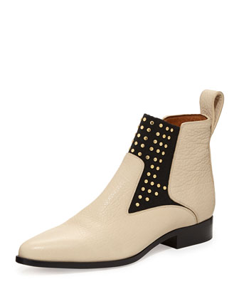 Studded Leather Chelsea Boot, Beige