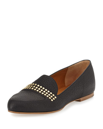 Leather Studded Loafer, Black