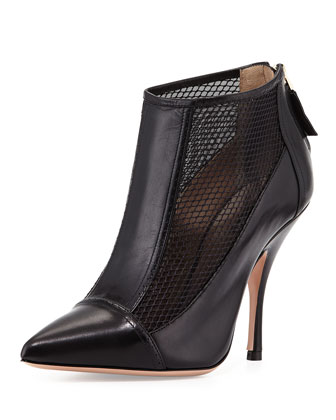 Leather Point-Toe Mesh Bootie, Black