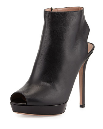 Leather Peep-Toe Ankle Bootie, Nero