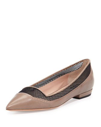 Mesh Point-Toe Ballerina Flat, Taupe/Nero