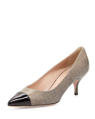 Lizard-Embossed Cap-Toe Pump, Nero/Taupe