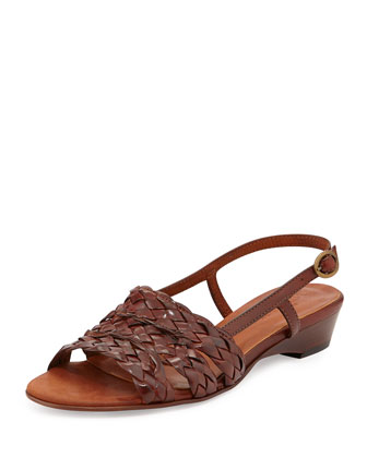 Ginny Woven Leather Slingback Sandal, Guoio