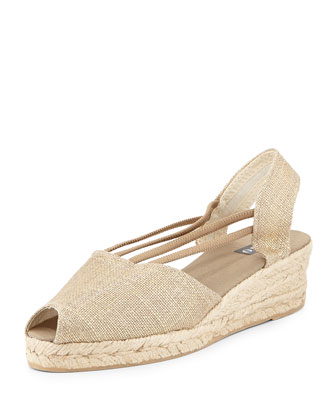 Jose Metallic Espadrille Wedge, Gold Oro