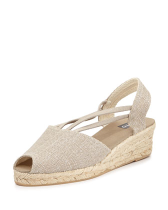 Jose Metallic Espadrille Wedge, Silver