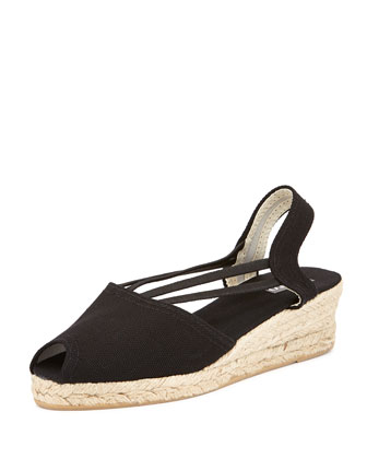 Jose Canvas Espadrille Wedge, Black