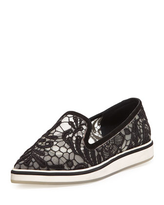Lace Point-Toe Loafer, Black