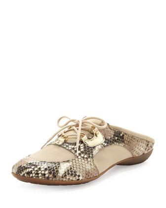 Briony Snake-Print Sneaker Mule, Sand