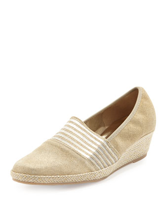 Malina Metallic Slip-On Wedge, Panna Gold