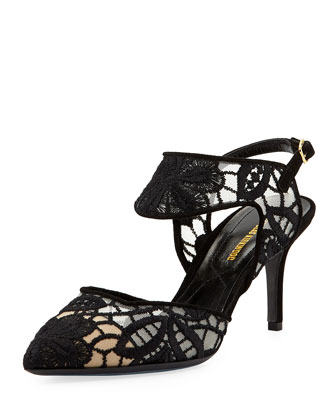Embroidered Lace Slingback Pump, Black