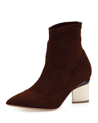 Suede Point-Toe Ankle Boot, Dark Brown
