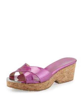 Panna Patent Crisscross Slide Sandal, Jazzberry