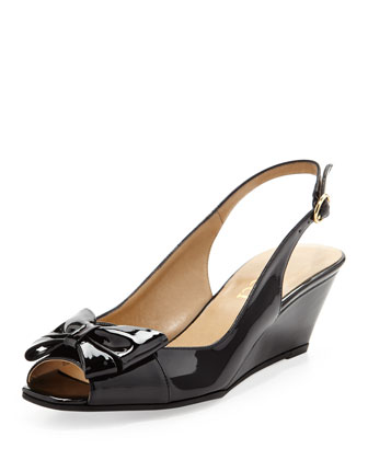 Fran Patent Bow Slingback Wedge, Black