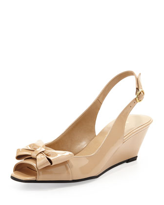 Fran Patent Bow Slingback Wedge, Flesh