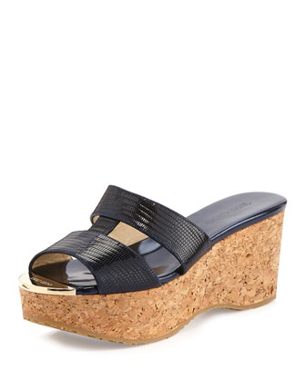 Patina Lizard-Print Wedge Slide, Navy
